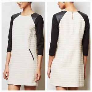 Anthropologie Moulinette Sœurs Leather Tweed Dress